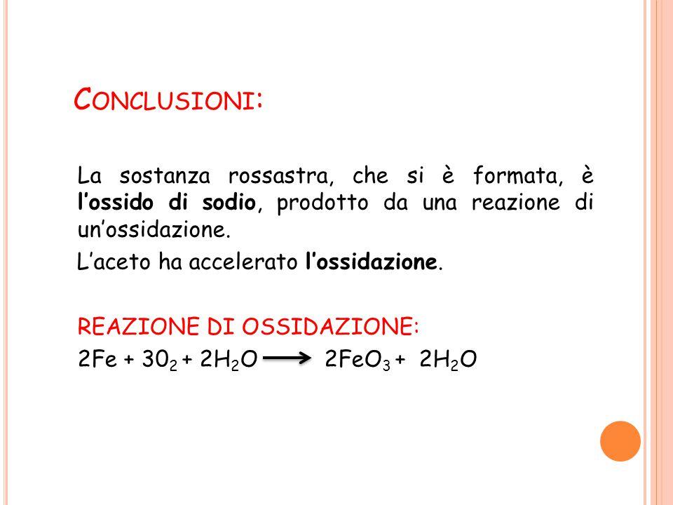 C ONCLUSIONI : La sostanza rossastra, che si è formata, è l'ossido di sodio, prodotto da una reazione di un'ossidazione.