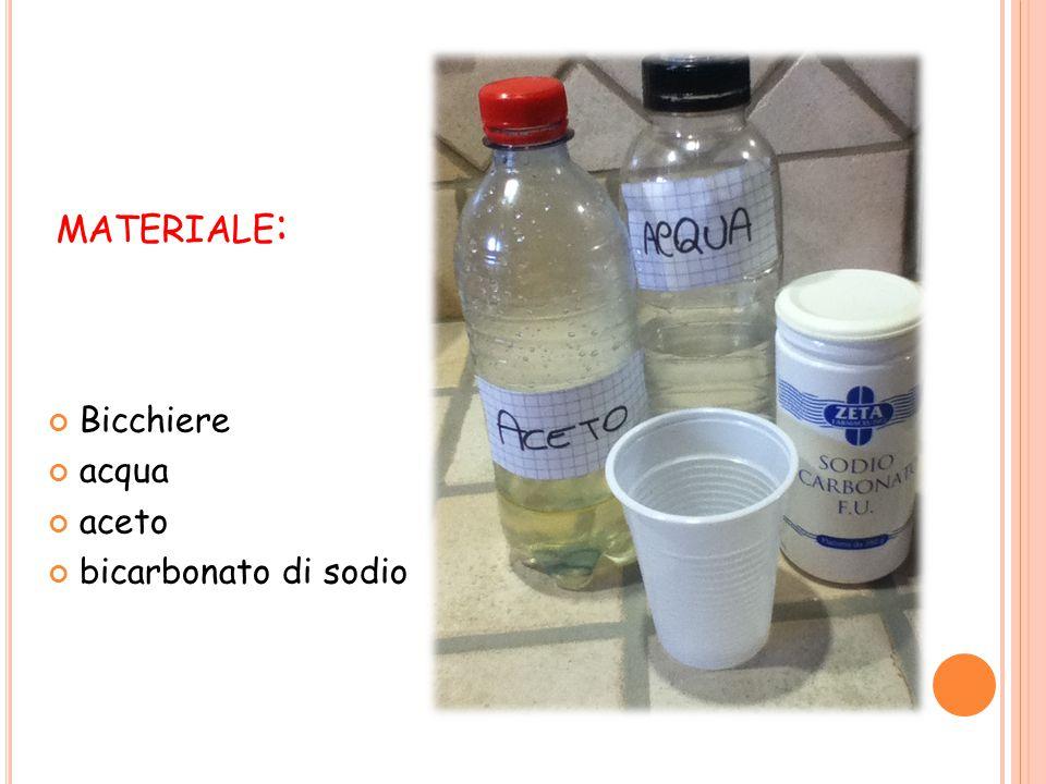 P ROCEDIMENTO : Riempire per metà il bicchiere con l'acqua; Aggiungere un cucchiaio di aceto e 2 o 3 di bicarbonato.