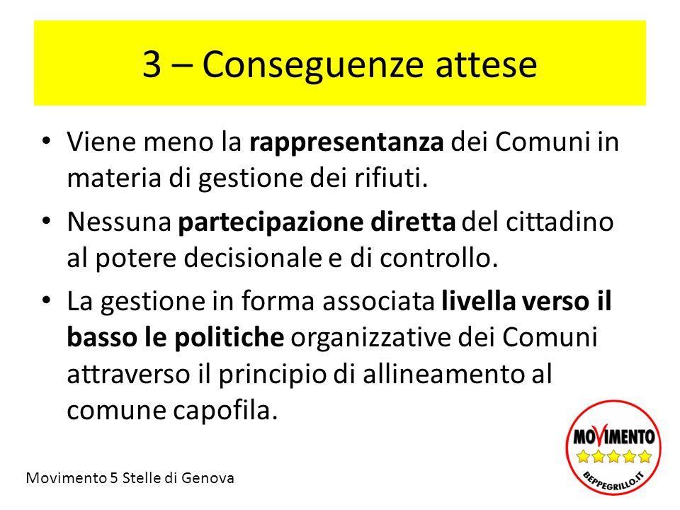 3 – Conseguenze attese Viene meno la rappresentanza dei Comuni in materia di gestione dei rifiuti.