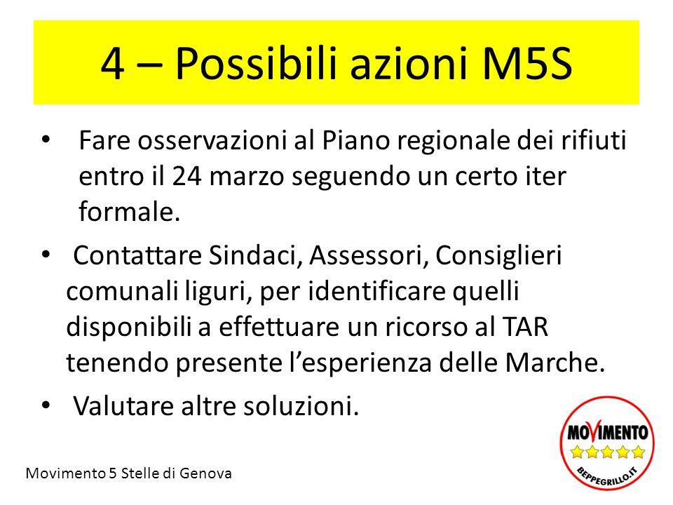 4 – Possibili azioni M5S Fare osservazioni al Piano regionale dei rifiuti entro il 24 marzo seguendo un certo iter formale.