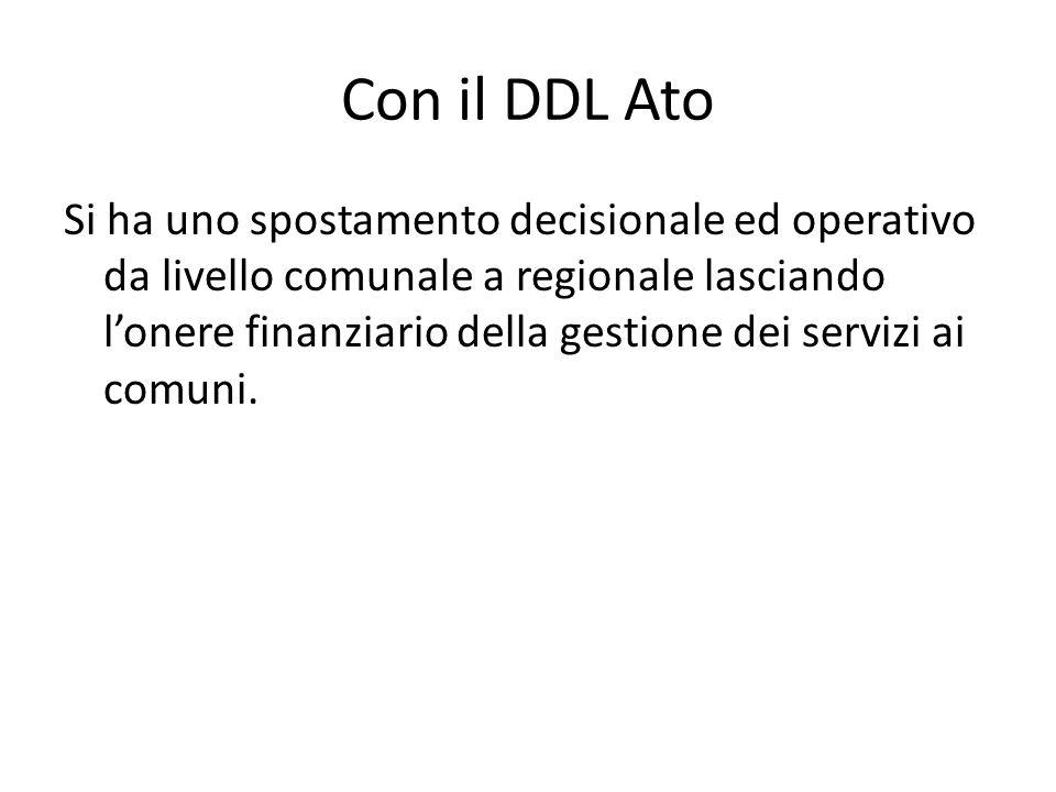 Con il DDL Ato Si ha uno spostamento decisionale ed operativo da livello comunale a regionale lasciando l'onere finanziario della gestione dei servizi ai comuni.