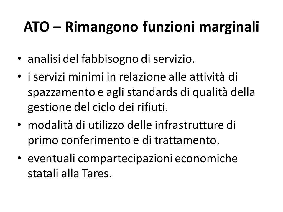 ATO – Rimangono funzioni marginali analisi del fabbisogno di servizio.