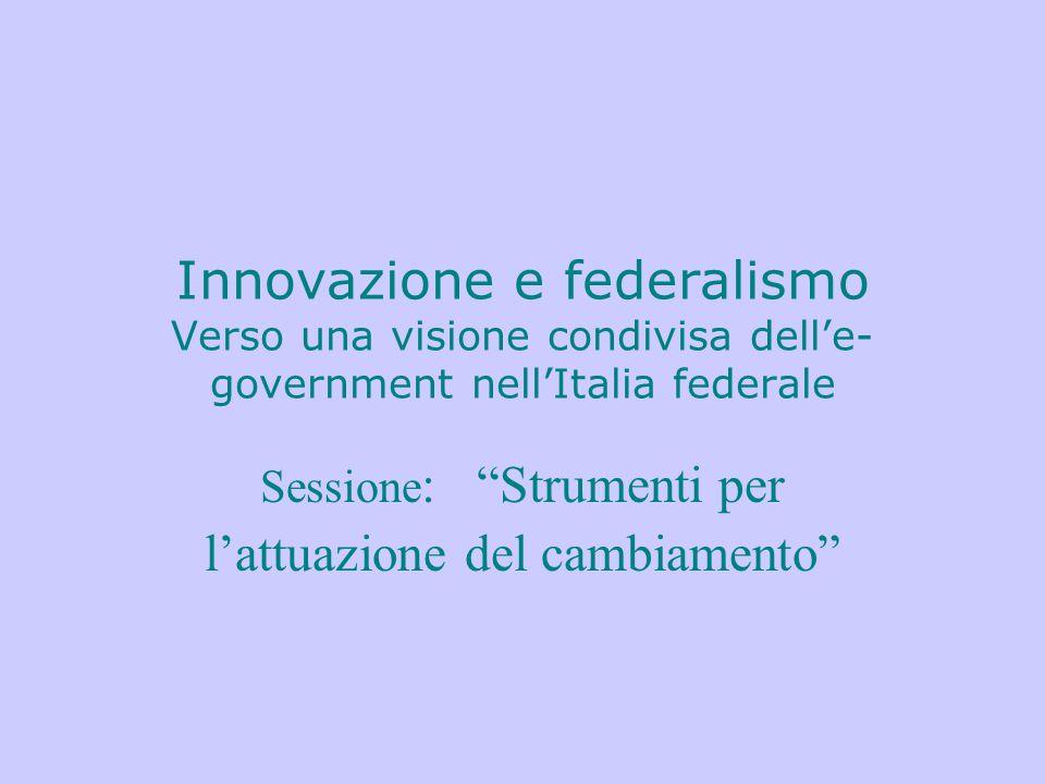 """Innovazione e federalismo Verso una visione condivisa dell'e- government nell'Italia federale Sessione : """"Strumenti per l'attuazione del cambiamento"""""""