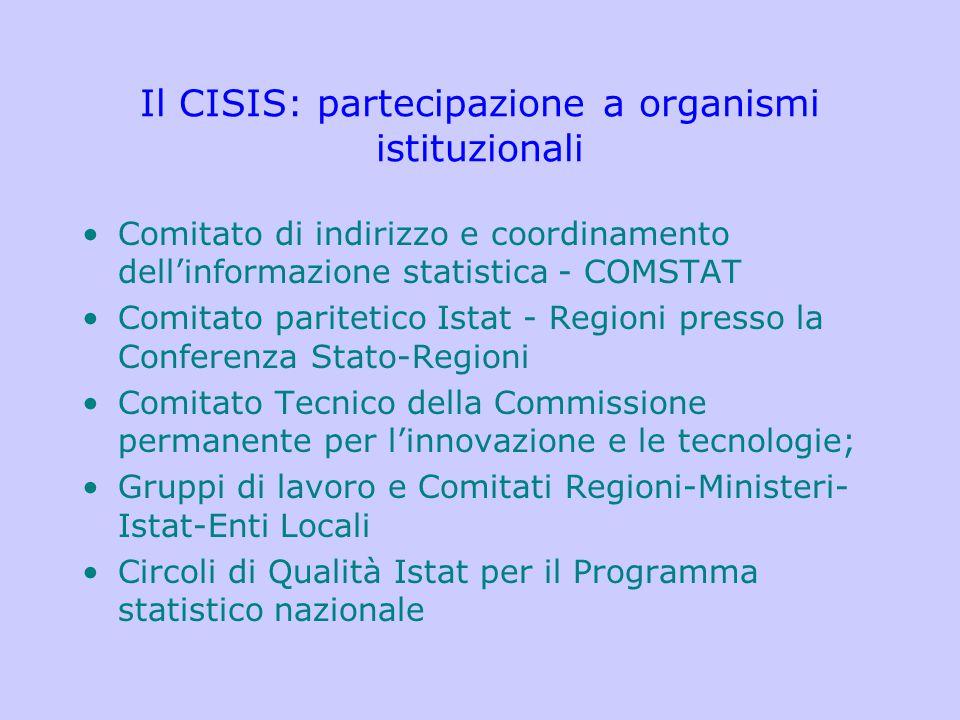 Il CISIS: partecipazione a organismi istituzionali Comitato di indirizzo e coordinamento dell'informazione statistica - COMSTAT Comitato paritetico Is