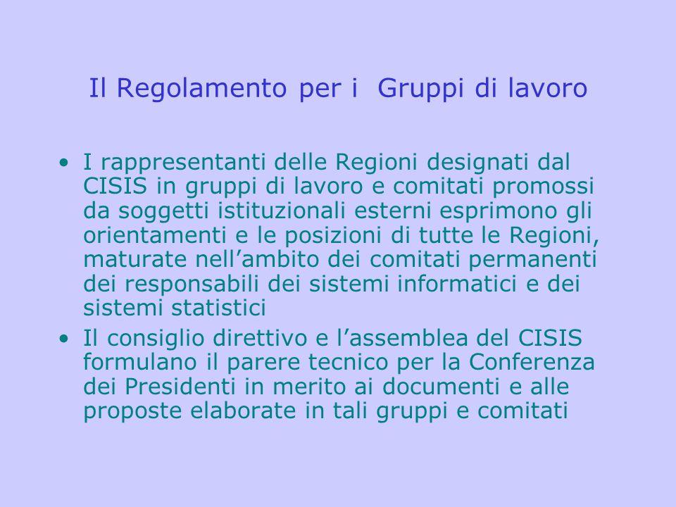 Il Regolamento per i Gruppi di lavoro I rappresentanti delle Regioni designati dal CISIS in gruppi di lavoro e comitati promossi da soggetti istituzio