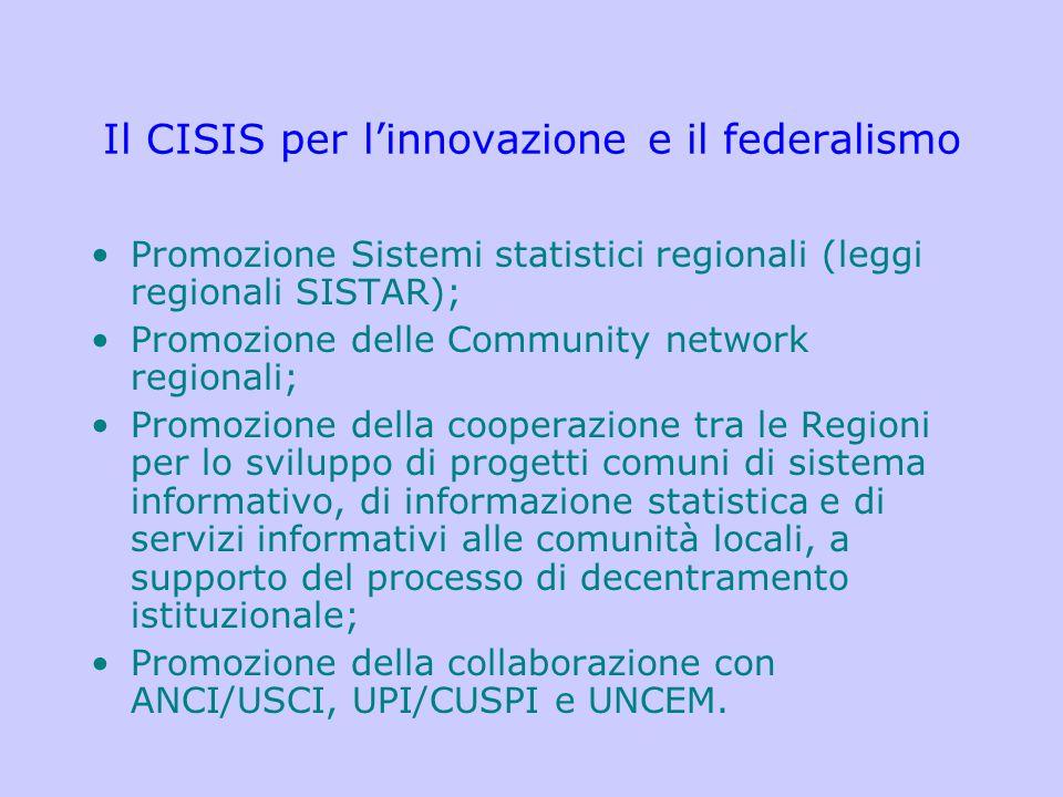 Il CISIS per l'innovazione e il federalismo Promozione Sistemi statistici regionali (leggi regionali SISTAR); Promozione delle Community network regio