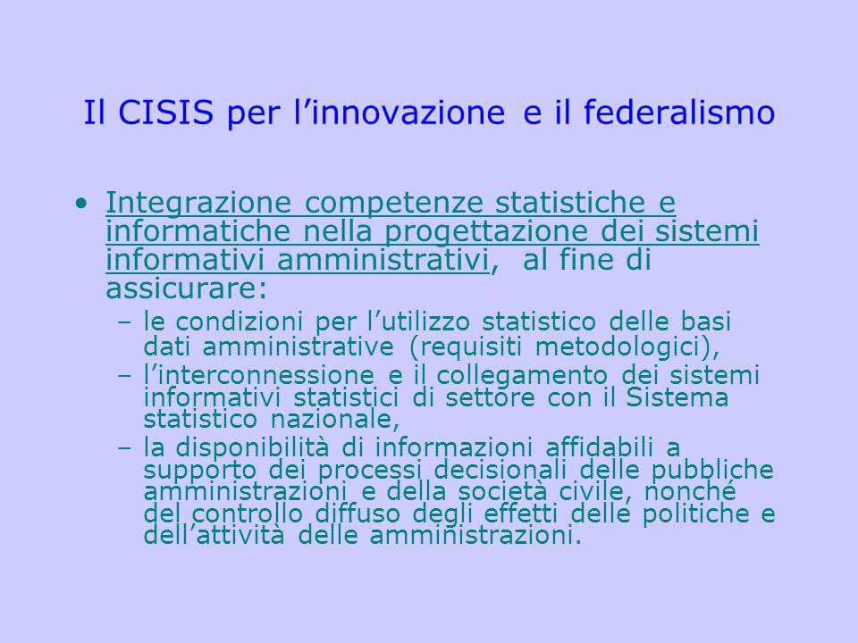 Il CISIS per l'innovazione e il federalismo Integrazione competenze statistiche e informatiche nella progettazione dei sistemi informativi amministrat