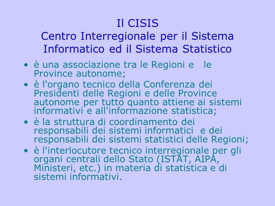 Il CISIS Centro Interregionale per il Sistema Informatico ed il Sistema Statistico è una associazione tra le Regioni e le Province autonome; è l'organ
