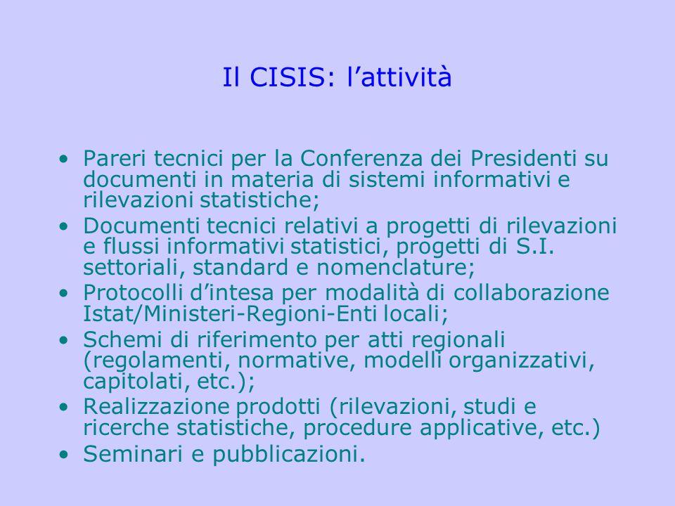Il CISIS: l'attività Pareri tecnici per la Conferenza dei Presidenti su documenti in materia di sistemi informativi e rilevazioni statistiche; Documen
