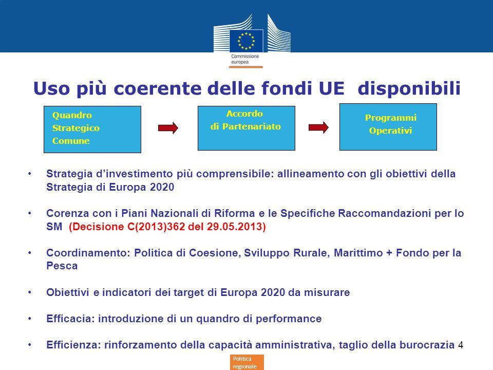 Politica regionale 4 Uso più coerente delle fondi UE disponibili Strategia d'investimento più comprensibile: allineamento con gli obiettivi della Strategia di Europa 2020 Corenza con i Piani Nazionali di Riforma e le Specifiche Raccomandazioni per lo SM (Decisione C(2013)362 del 29.05.2013) Coordinamento: Politica di Coesione, Sviluppo Rurale, Marittimo + Fondo per la Pesca Obiettivi e indicatori dei target di Europa 2020 da misurare Efficacia: introduzione di un quandro di performance Efficienza: rinforzamento della capacità amministrativa, taglio della burocrazia Quandro Strategico Comune Accordo di Partenariato Programmi Operativi
