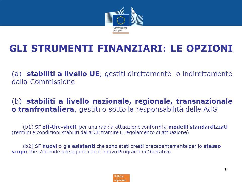 Politica regionale (a)stabiliti a livello UE, gestiti direttamente o indirettamente dalla Commissione (b)stabiliti a livello nazionale, regionale, transnazionale o tranfrontaliera, gestiti o sotto la responsabilità delle AdG (b1) SF off-the-shelf per una rapida attuazione conformi a modelli standardizzati (termini e condizioni stabiliti dalla CE tramite il regolamento di attuazione) (b2) SF nuovi o già esistenti che sono stati creati precedentemente per lo stesso scopo che s intende perseguire con il nuovo Programma Operativo.