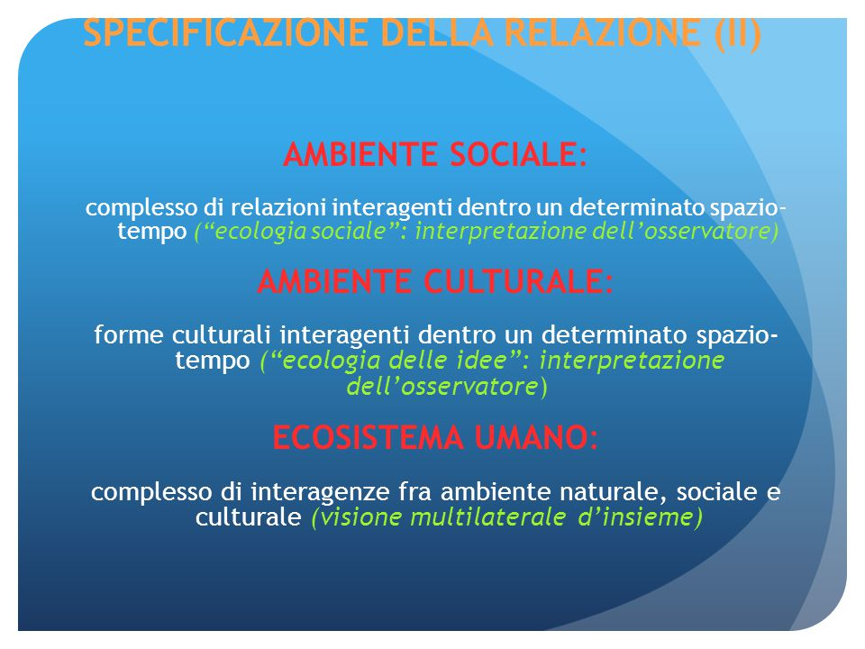 SPECIFICAZIONE DELLA RELAZIONE (II) AMBIENTE SOCIALE: complesso di relazioni interagenti dentro un determinato spazio- tempo ( ecologia sociale : interpretazione dell'osservatore) AMBIENTE CULTURALE: forme culturali interagenti dentro un determinato spazio- tempo ( ecologia delle idee : interpretazione dell'osservatore) ECOSISTEMA UMANO: complesso di interagenze fra ambiente naturale, sociale e culturale (visione multilaterale d'insieme)