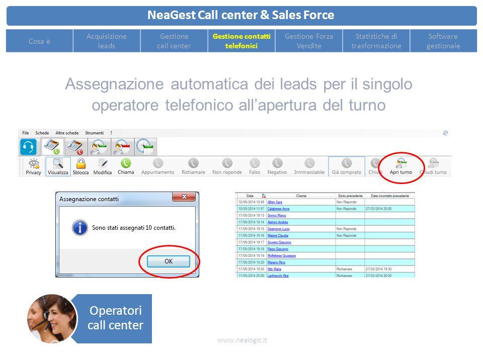 Esportazione statistiche e classifiche per misurare le performance degli operatori telefonici NeaGest Call center & Sales Force www.nealogic.it Cosa è