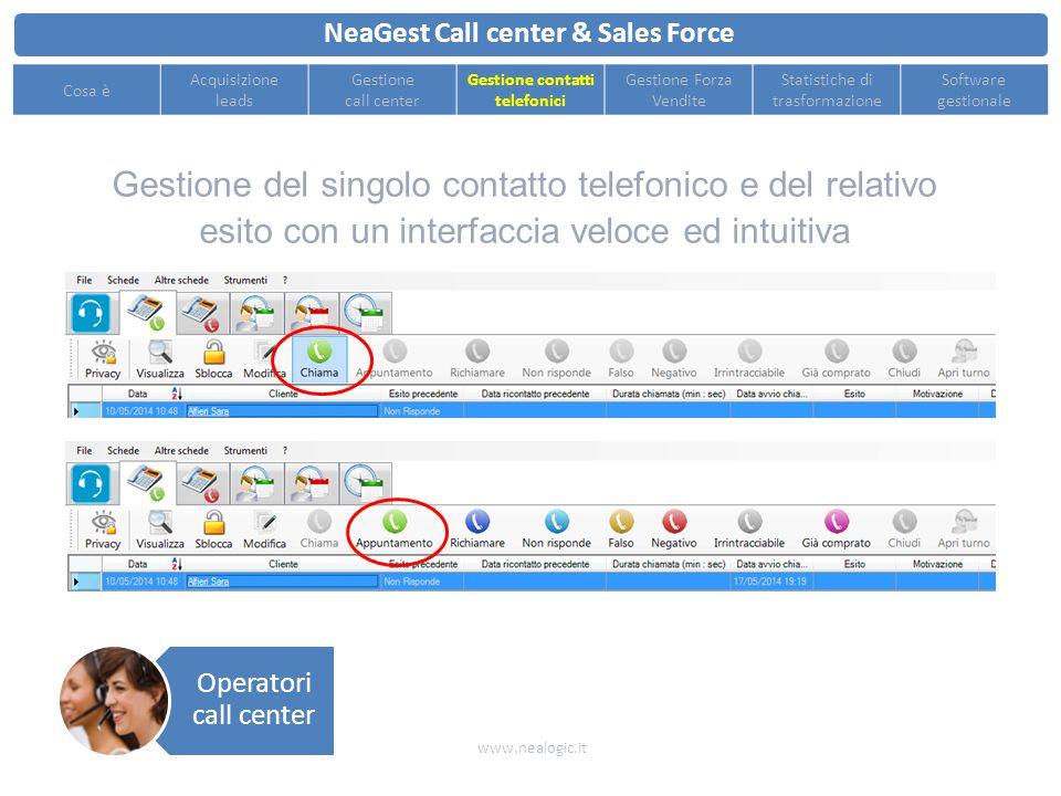 Assegnazione automatica dei leads per il singolo operatore telefonico all'apertura del turno NeaGest Call center & Sales Force www.nealogic.it Cosa è