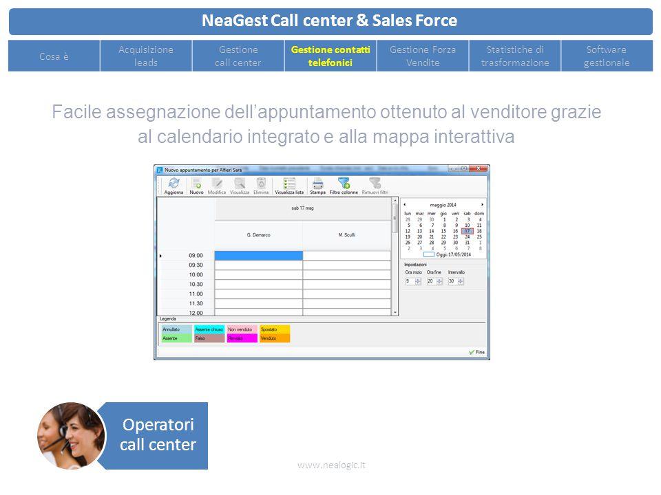 Gestione del singolo contatto telefonico e del relativo esito con un interfaccia veloce ed intuitiva NeaGest Call center & Sales Force www.nealogic.it