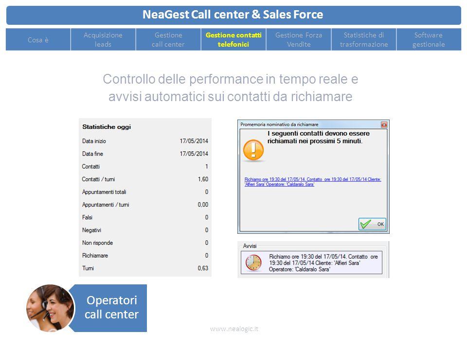 Facile assegnazione dell'appuntamento ottenuto al venditore grazie al calendario integrato e alla mappa interattiva NeaGest Call center & Sales Force