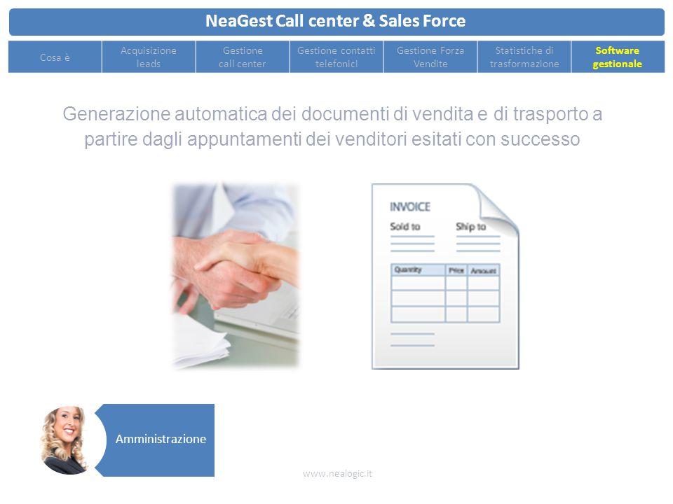 Statistiche e cruscotti per tenere sotto controllo le performance di ogni singolo reparto NeaGest Call center & Sales Force www.nealogic.it Cosa è Acq