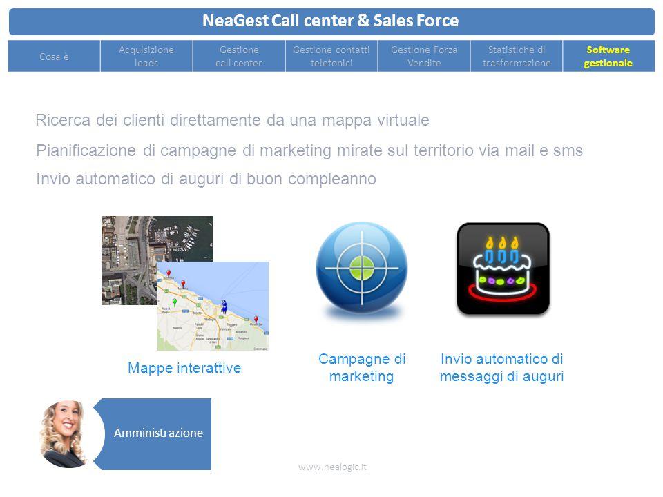 NeaGest Call center & Sales Force www.nealogic.it Cosa è Acquisizione leads Gestione call center Gestione contatti telefonici Gestione Forza Vendite S