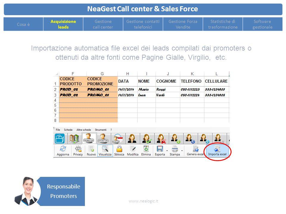 Esportazione file excel di acquisizione leads e invio ai singoli promoters NeaGest Call center & Sales Force www.nealogic.it Cosa è Acquisizione leads