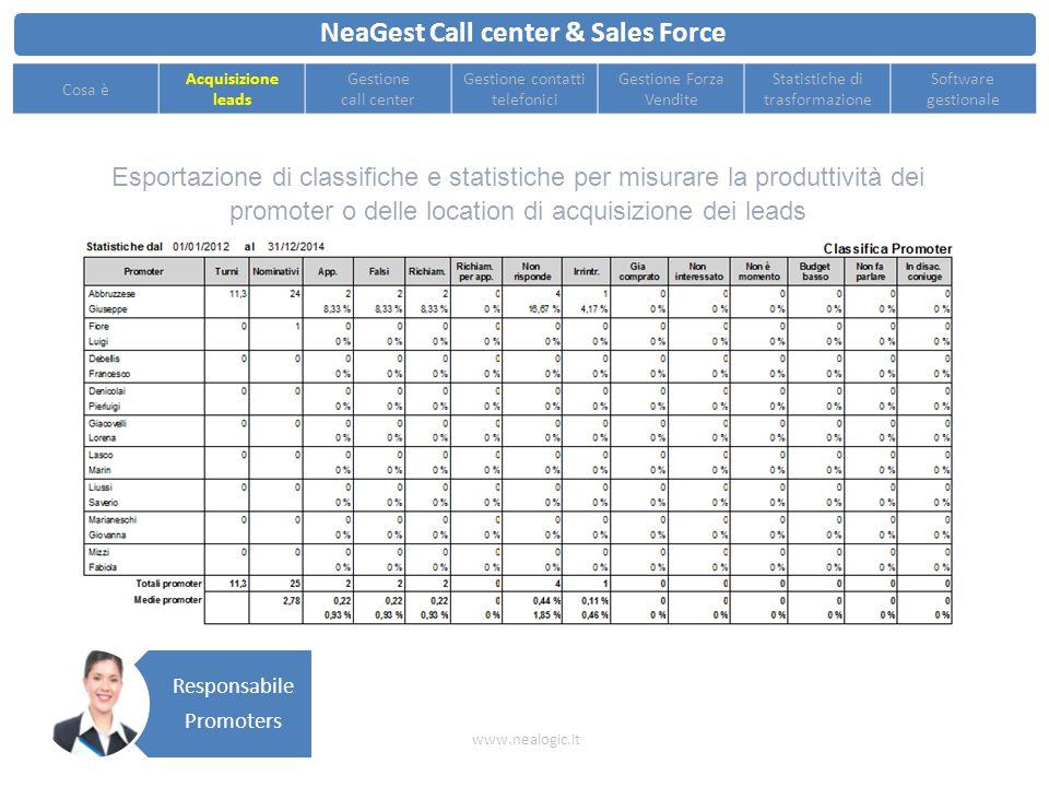 Importazione automatica file excel dei leads compilati dai promoters o ottenuti da altre fonti come Pagine Gialle, Virgilio, etc. NeaGest Call center