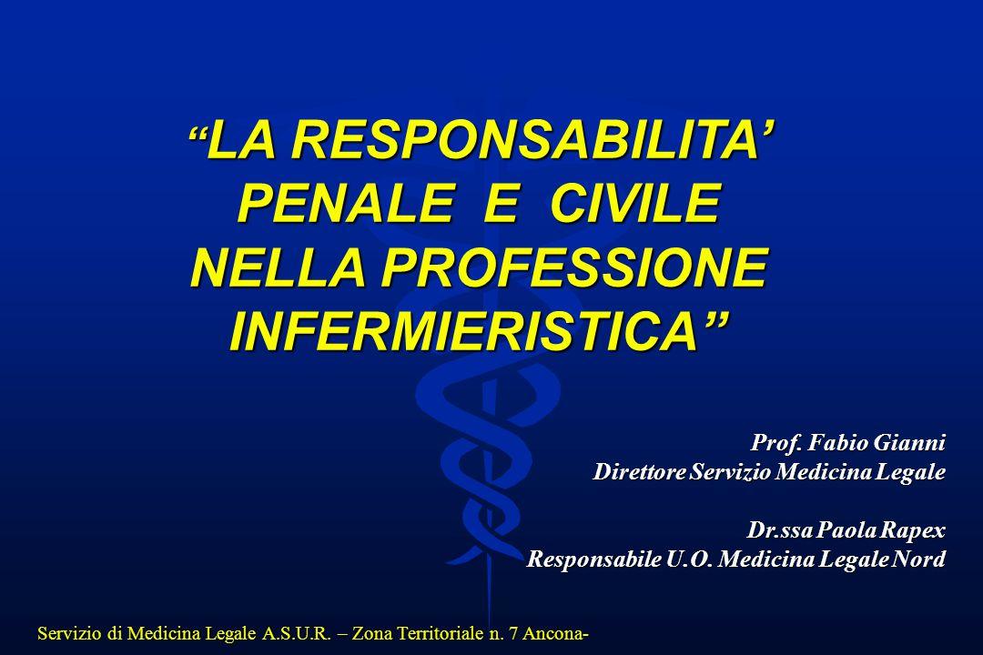 """Servizio di Medicina Legale A.S.U.R. – Zona Territoriale n. 7 Ancona- """" LA RESPONSABILITA' PENALE E CIVILE NELLA PROFESSIONE INFERMIERISTICA"""" Prof. Fa"""
