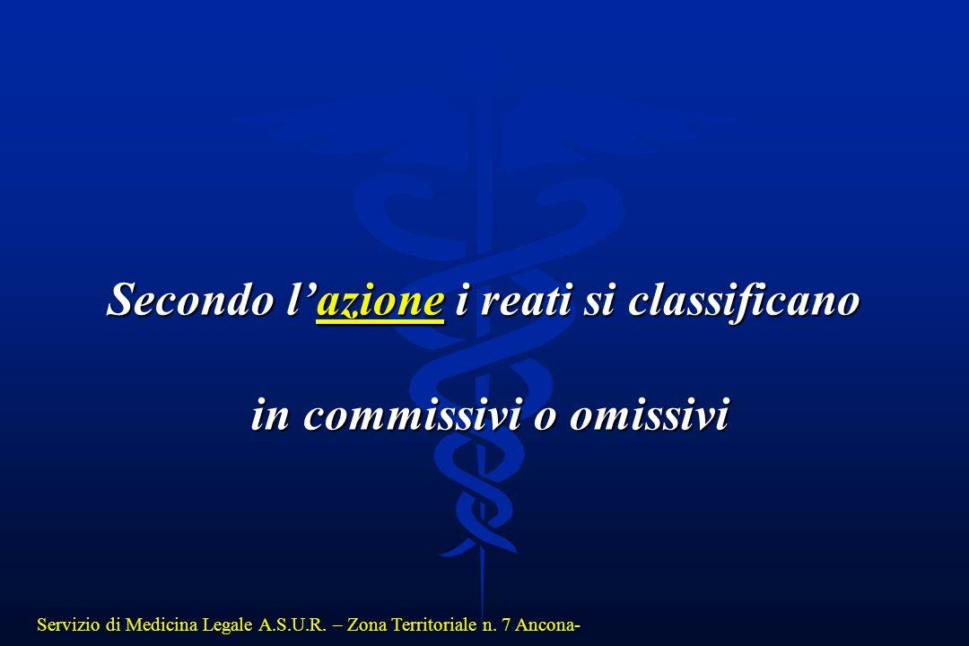 Servizio di Medicina Legale A.S.U.R. – Zona Territoriale n. 7 Ancona- Secondo l'azione i reati si classificano in commissivi o omissivi in commissivi