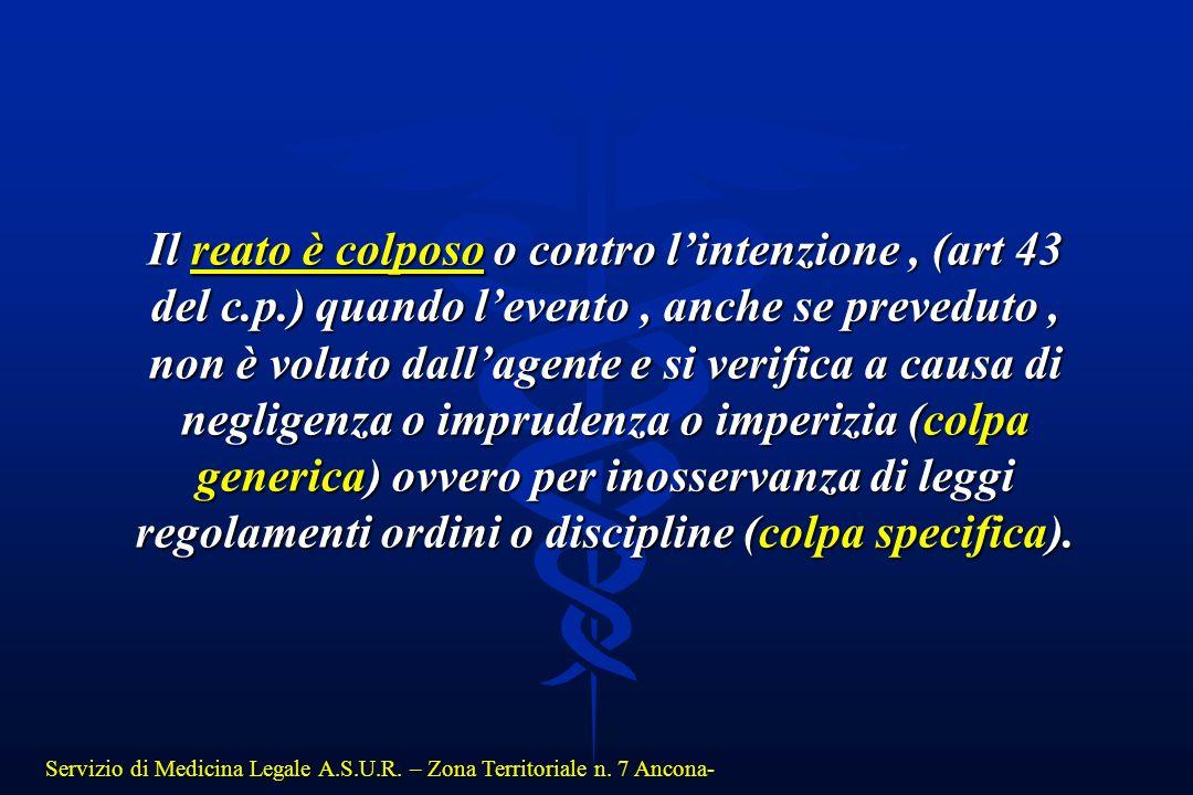 Servizio di Medicina Legale A.S.U.R. – Zona Territoriale n. 7 Ancona- Il reato è colposo o contro l'intenzione, (art 43 del c.p.) quando l'evento, anc