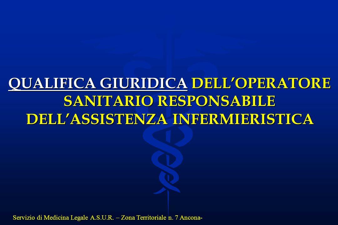 Servizio di Medicina Legale A.S.U.R. – Zona Territoriale n. 7 Ancona- QUALIFICA GIURIDICA DELL'OPERATORE SANITARIO RESPONSABILE DELL'ASSISTENZA INFERM