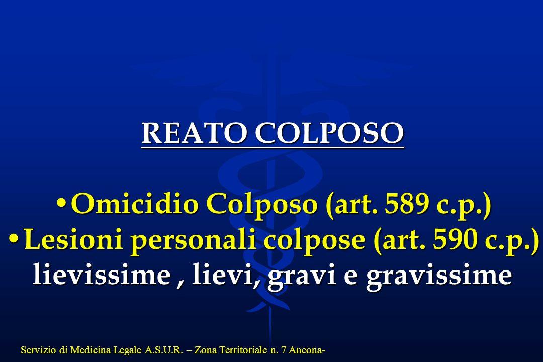 Servizio di Medicina Legale A.S.U.R. – Zona Territoriale n. 7 Ancona- REATO COLPOSO Omicidio Colposo (art. 589 c.p.) Omicidio Colposo (art. 589 c.p.)
