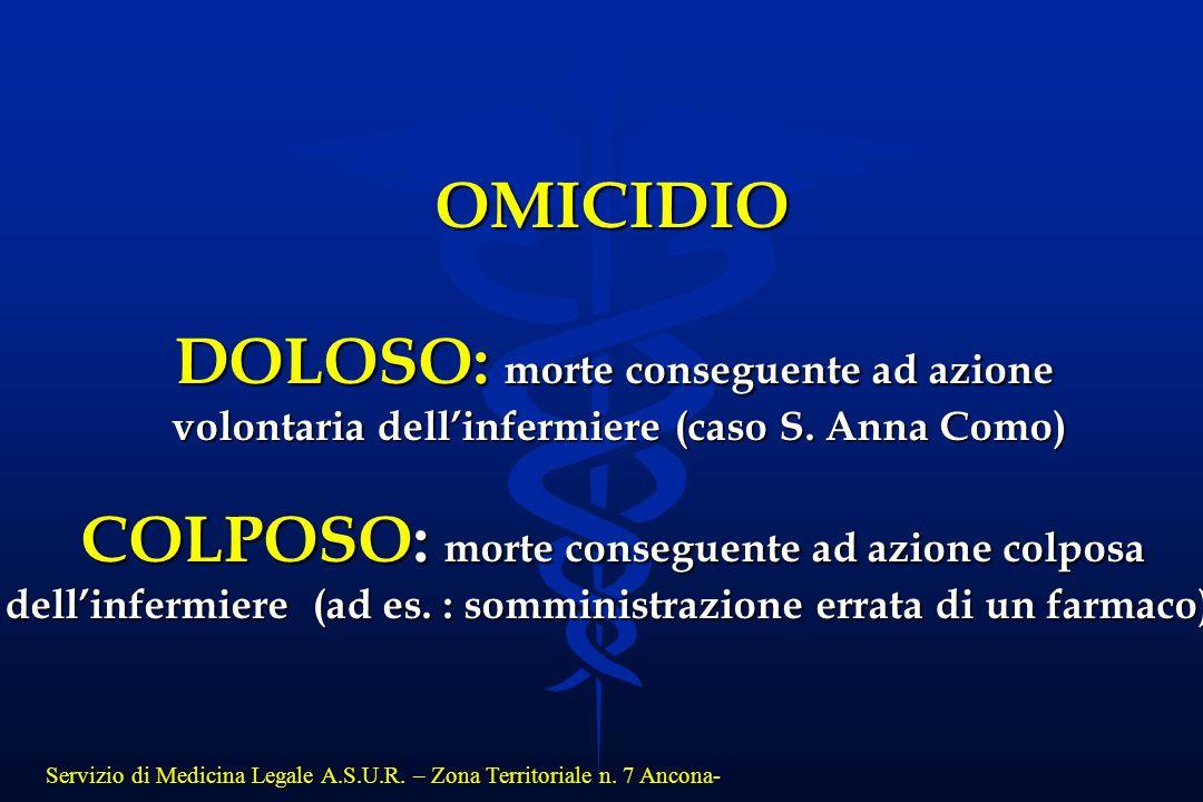 Servizio di Medicina Legale A.S.U.R. – Zona Territoriale n. 7 Ancona- OMICIDIO DOLOSO: morte conseguente ad azione volontaria dell'infermiere (caso S.