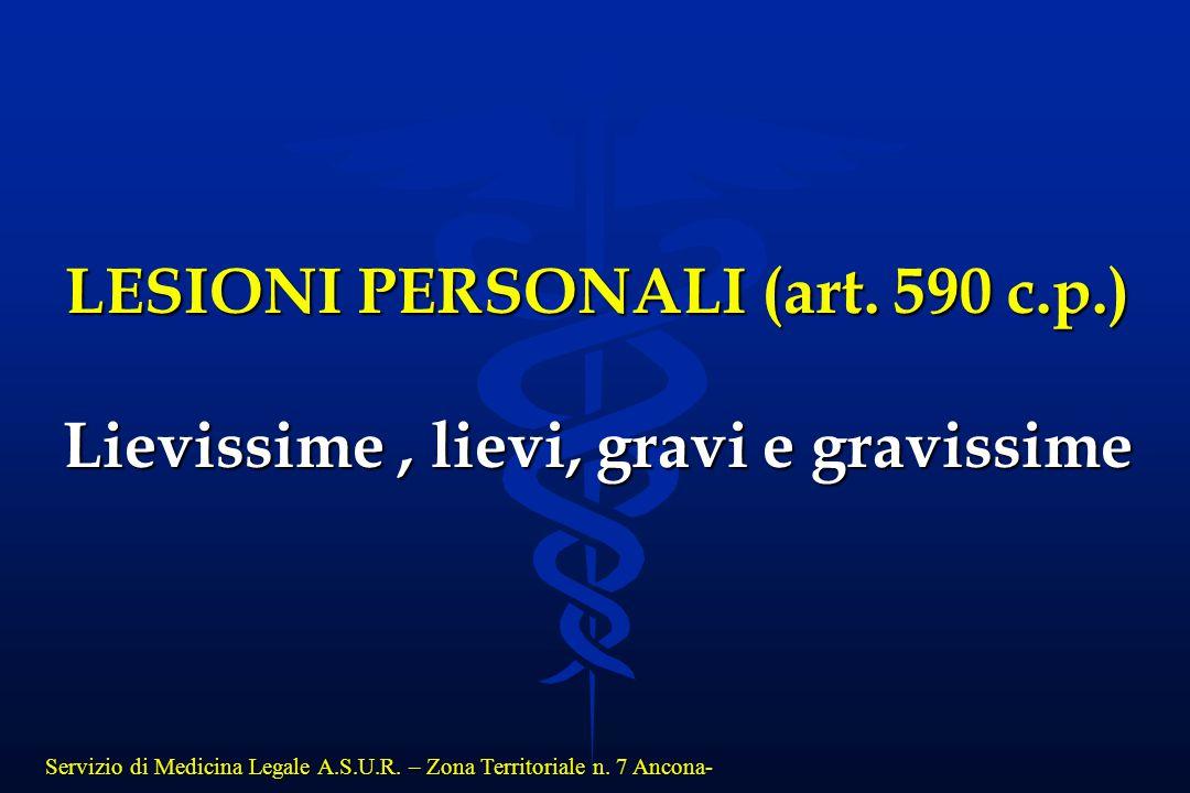 Servizio di Medicina Legale A.S.U.R. – Zona Territoriale n. 7 Ancona- LESIONI PERSONALI (art. 590 c.p.) Lievissime, lievi, gravi e gravissime