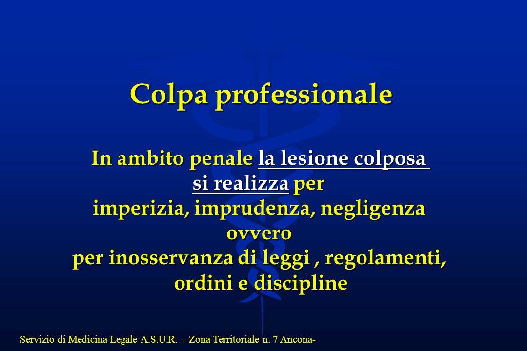 Servizio di Medicina Legale A.S.U.R. – Zona Territoriale n. 7 Ancona- Colpa professionale In ambito penale la lesione colposa si realizza per imperizi
