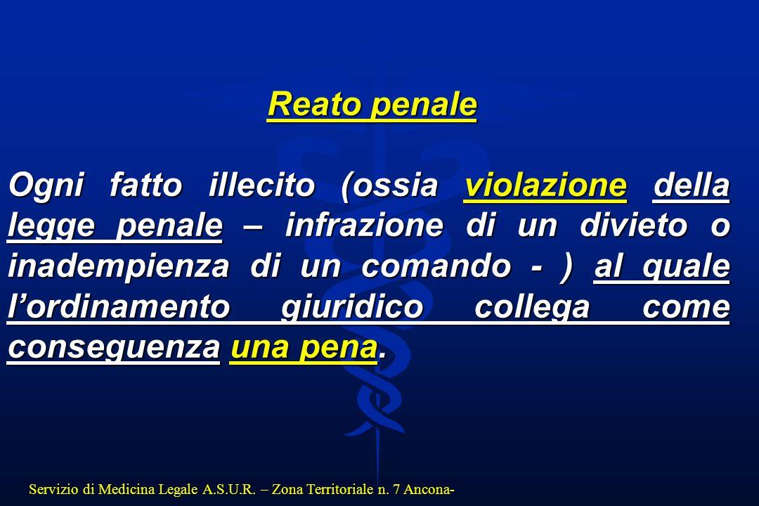 Servizio di Medicina Legale A.S.U.R. – Zona Territoriale n. 7 Ancona- Reato penale Reato penale Ogni fatto illecito (ossia violazione della legge pena