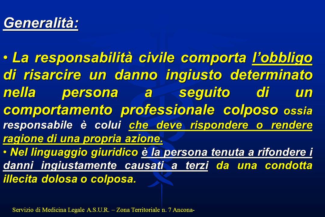 Servizio di Medicina Legale A.S.U.R. – Zona Territoriale n. 7 Ancona- Generalità: La responsabilità civile comporta l'obbligo di risarcire un danno in