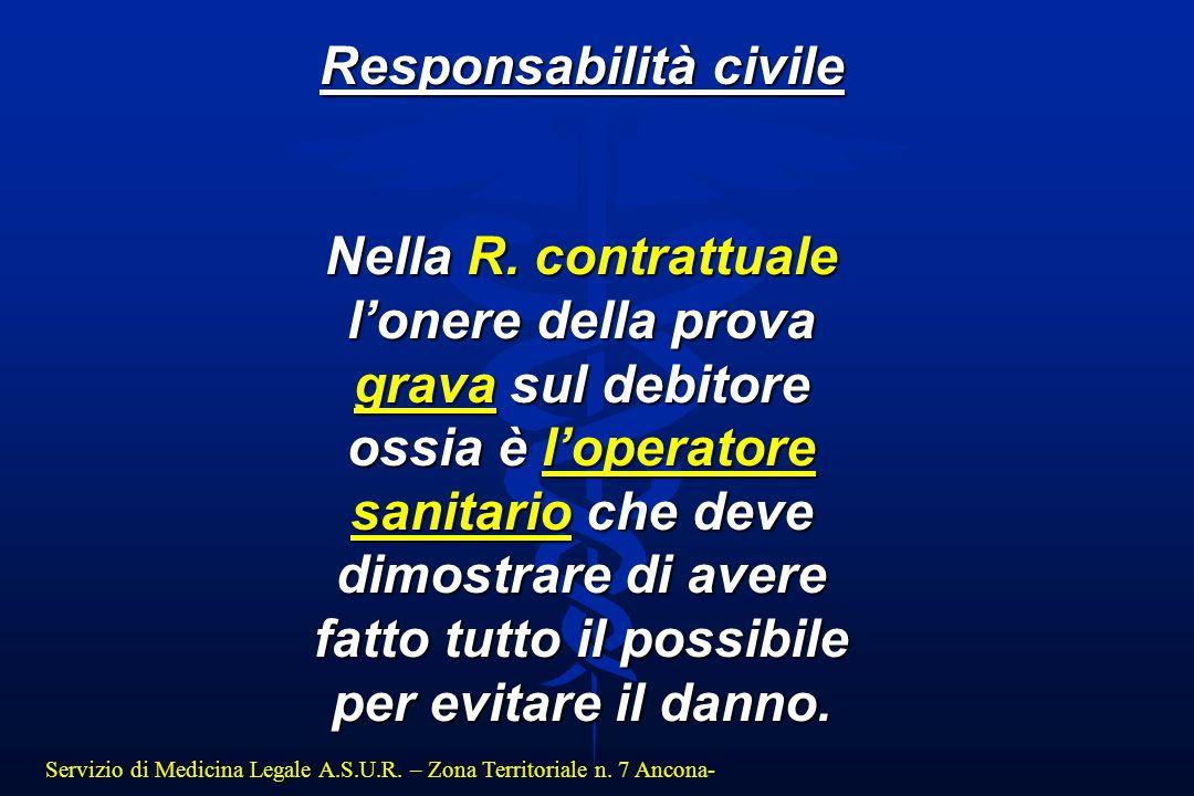 Servizio di Medicina Legale A.S.U.R. – Zona Territoriale n. 7 Ancona- Responsabilità civile Nella R. contrattuale l'onere della prova grava sul debito