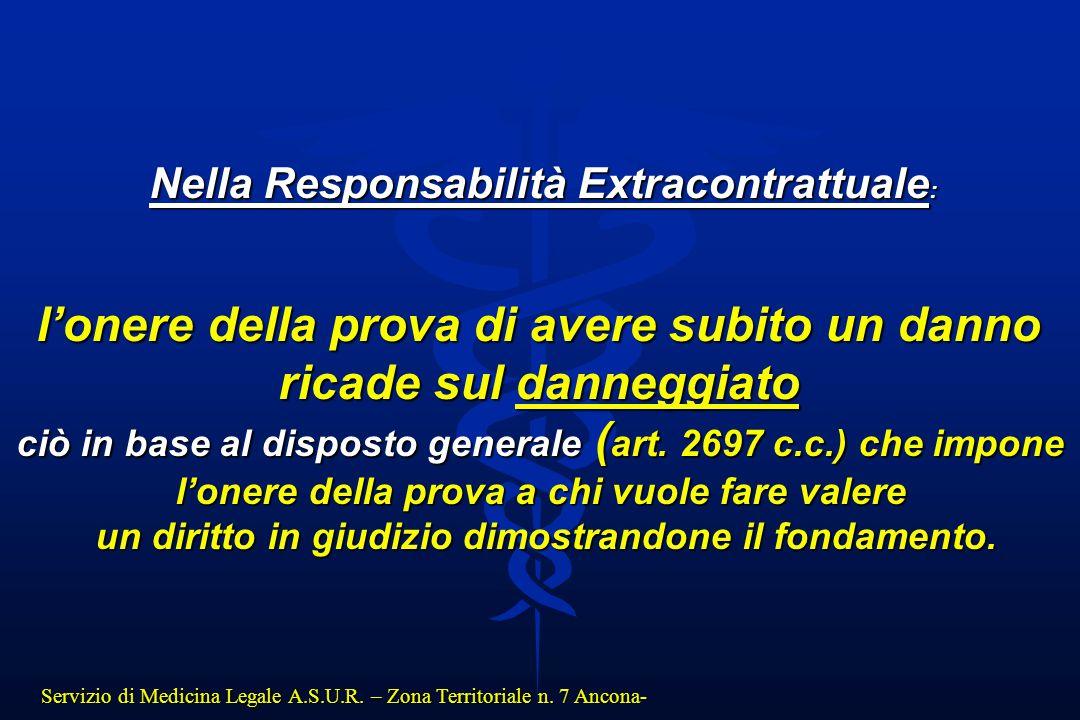 Servizio di Medicina Legale A.S.U.R. – Zona Territoriale n. 7 Ancona- Nella Responsabilità Extracontrattuale : l'onere della prova di avere subito un