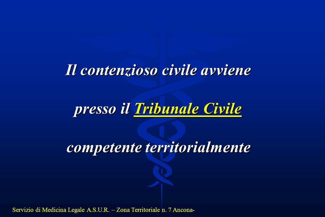 Servizio di Medicina Legale A.S.U.R. – Zona Territoriale n. 7 Ancona- Il contenzioso civile avviene presso il Tribunale Civile competente territorialm