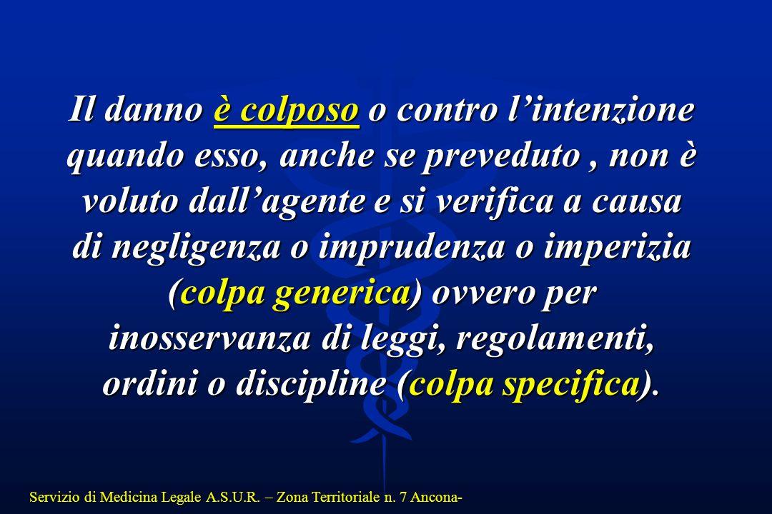 Servizio di Medicina Legale A.S.U.R. – Zona Territoriale n. 7 Ancona- Il danno è colposo o contro l'intenzione quando esso, anche se preveduto, non è