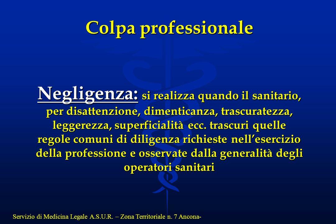 Servizio di Medicina Legale A.S.U.R. – Zona Territoriale n. 7 Ancona- Colpa professionale Negligenza: si realizza quando il sanitario, per disattenzio