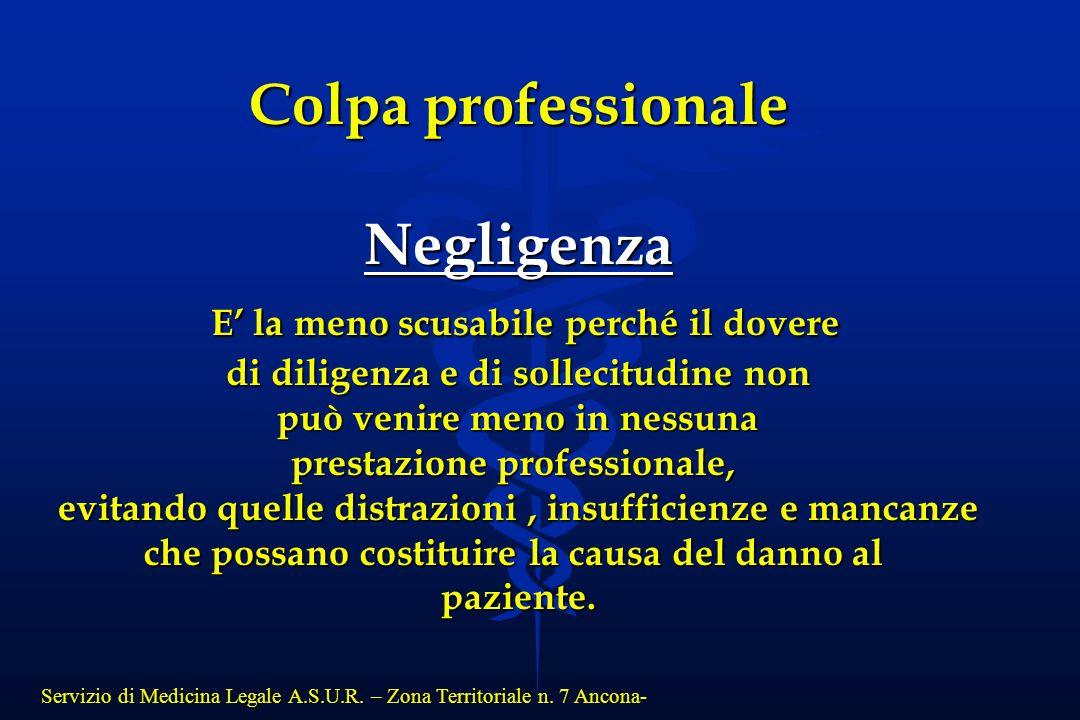 Servizio di Medicina Legale A.S.U.R. – Zona Territoriale n. 7 Ancona- Colpa professionale Negligenza E' la meno scusabile perché il dovere E' la meno