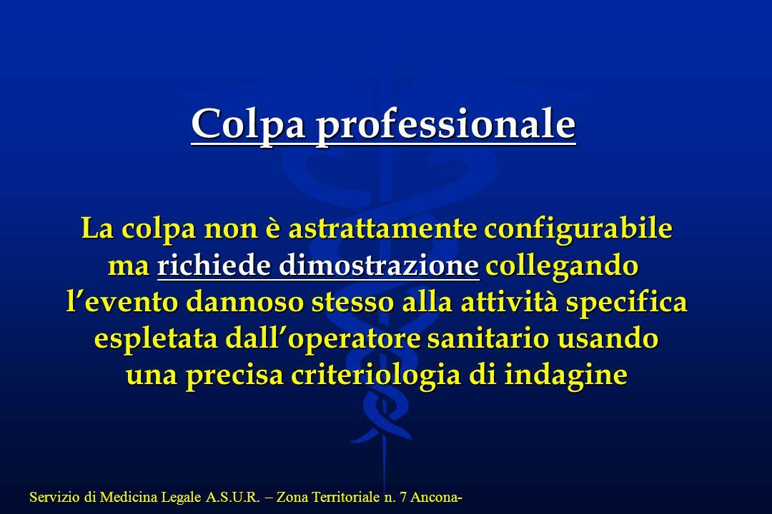 Servizio di Medicina Legale A.S.U.R. – Zona Territoriale n. 7 Ancona- La colpa non è astrattamente configurabile ma richiede dimostrazione collegando