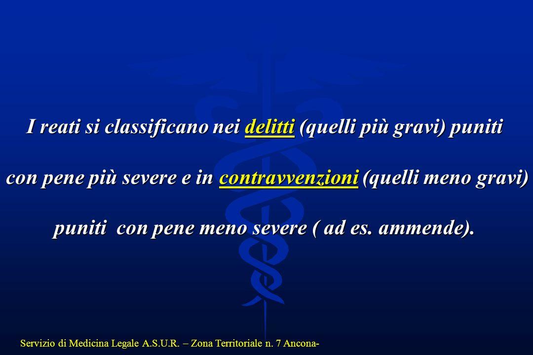 Servizio di Medicina Legale A.S.U.R. – Zona Territoriale n. 7 Ancona- I reati si classificano nei delitti (quelli più gravi) puniti con pene più sever