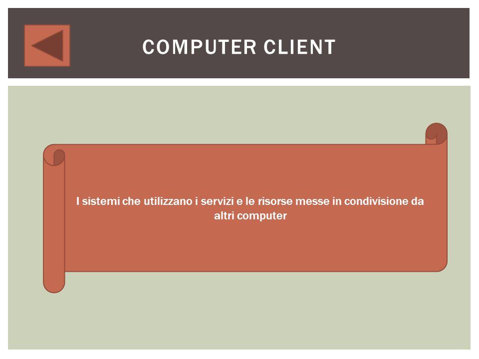 COMPUTER SERVER Mettono in condivisione delle risorse (dischi fissi o stampanti) o offrono servizi x gli altri computer connessi alla rete.