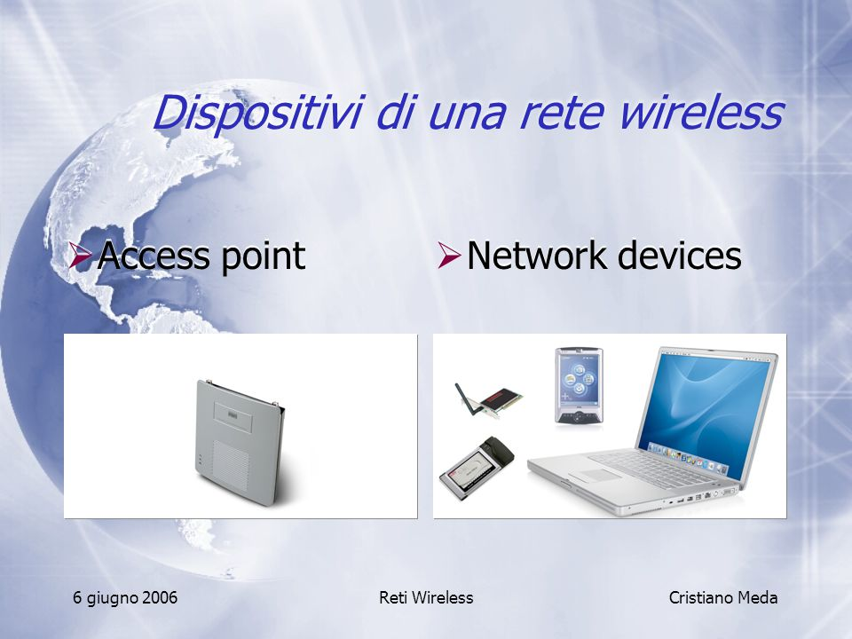 6 giugno 2006Reti Wireless Dispositivi di una rete wireless  Access point Cristiano Meda  Network devices