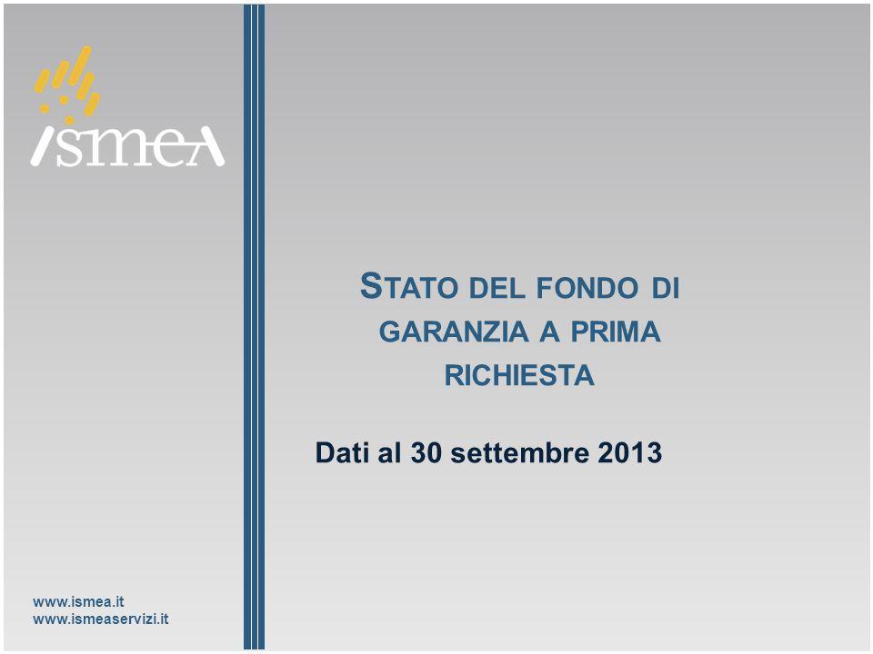 www.ismea.it www.ismeaservizi.it S TATO DEL FONDO DI GARANZIA A PRIMA RICHIESTA Dati al 30 settembre 2013
