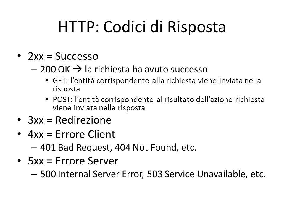 HTTP: Codici di Risposta 2xx = Successo – 200 OK  la richiesta ha avuto successo GET: l'entità corrispondente alla richiesta viene inviata nella risp