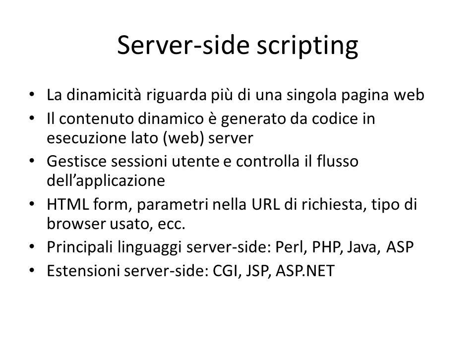 Server-side scripting La dinamicità riguarda più di una singola pagina web Il contenuto dinamico è generato da codice in esecuzione lato (web) server