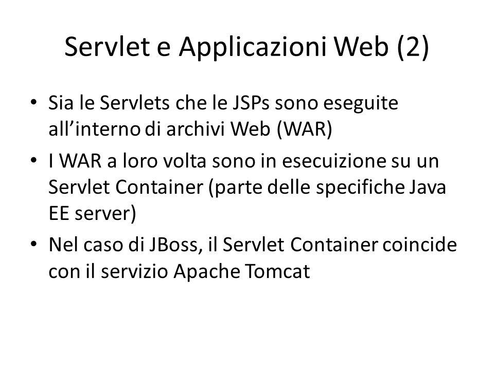 Servlet e Applicazioni Web (2) Sia le Servlets che le JSPs sono eseguite all'interno di archivi Web (WAR) I WAR a loro volta sono in esecuizione su un