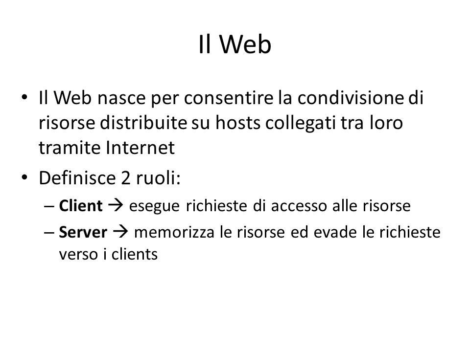 Il Web Il Web nasce per consentire la condivisione di risorse distribuite su hosts collegati tra loro tramite Internet Definisce 2 ruoli: – Client  e