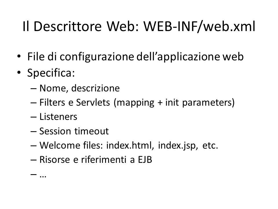 Il Descrittore Web: WEB-INF/web.xml File di configurazione dell'applicazione web Specifica: – Nome, descrizione – Filters e Servlets (mapping + init p